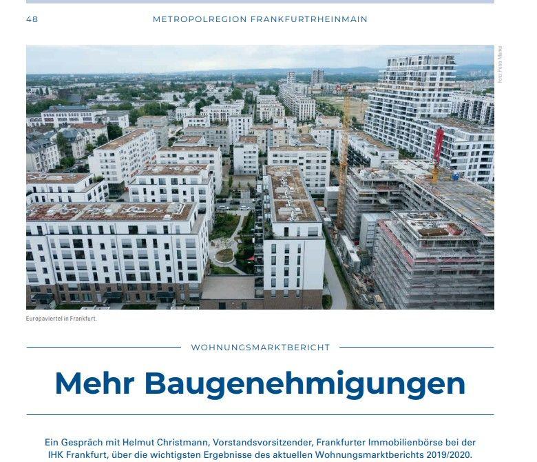 """""""Mehr Baugenehmigungen"""" – ein Gespräch mit Helmut Christmann zu den wichtigsten Ergebnissen des Wohnungsmarktberichtes 2019/20, IHK WirtschaftsForum 02.20"""